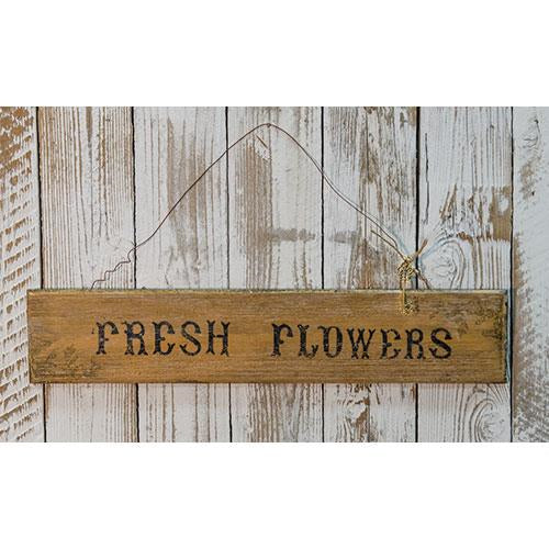 Fresh Flowers Rustic Wooden Sign
