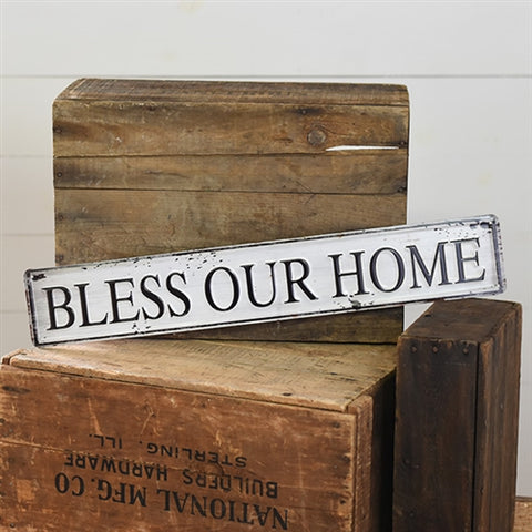 "Bless Our Home 24"" L Tin Sign"