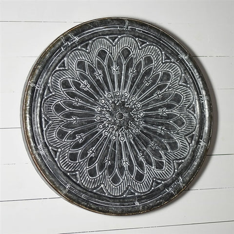 "Large Rustic Tin Flower Patterned Tin Wall Decor 32"" diameter"