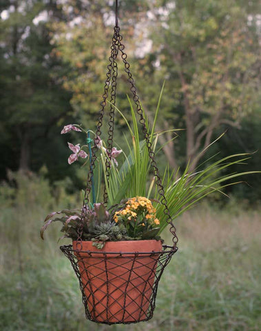 Round Hanging Wire Basket with Terra Cotta Pot - rust finish