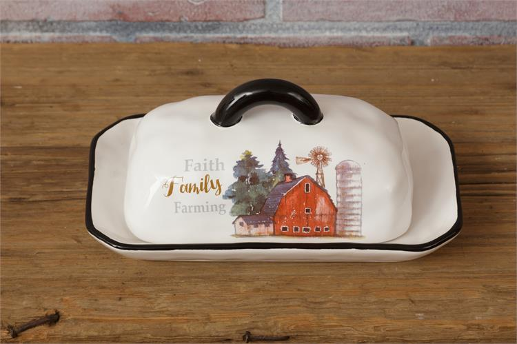Faith Family Farming Covered Butter Dish - Barn Windmill