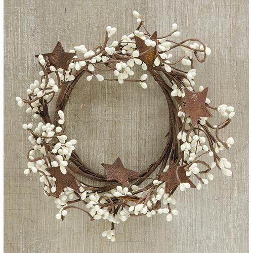 "Cream Pip Berry 8"" Ring With Rustic Stars"