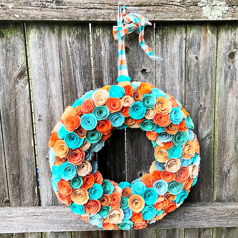 "Paper Rosettes Peach Teal & Sienna 15"" Wreath"