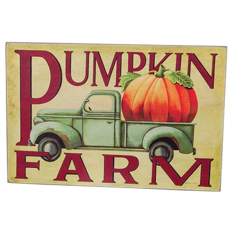 Pumpkin Farm Blue Pickup Truck Sign
