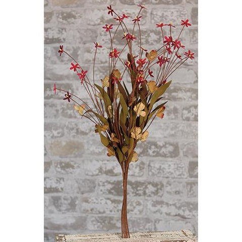 Mini Star Red and Natural Faux Flower Bush