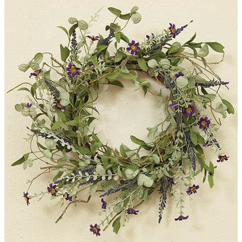 "Lavender and Herbs Foliage 24"" Wreath"