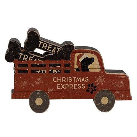 Christmas Express Red Pickup Black Lab Chunky Shelf Sitter