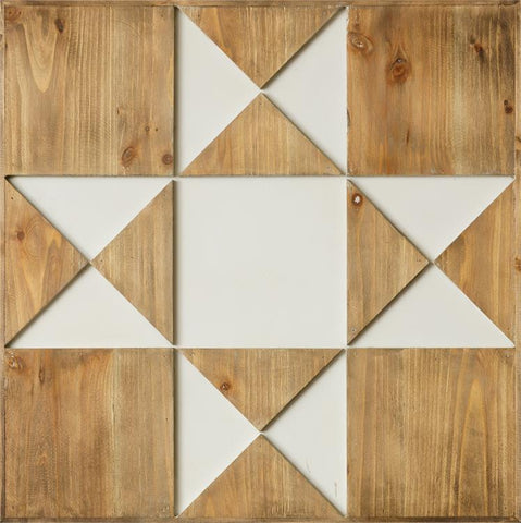 "Wood Barn Quilt 23.5"" Square Wall Hanging"