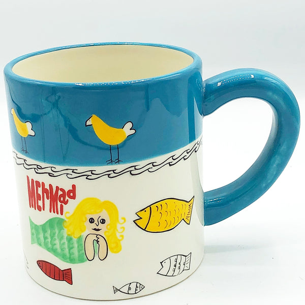 Mermaid and Fishes Artwork Mug Foreside