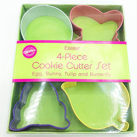 Wilton Easter 4 pc Cookie Cutter Set Egg Bunny Butterfly Tulip