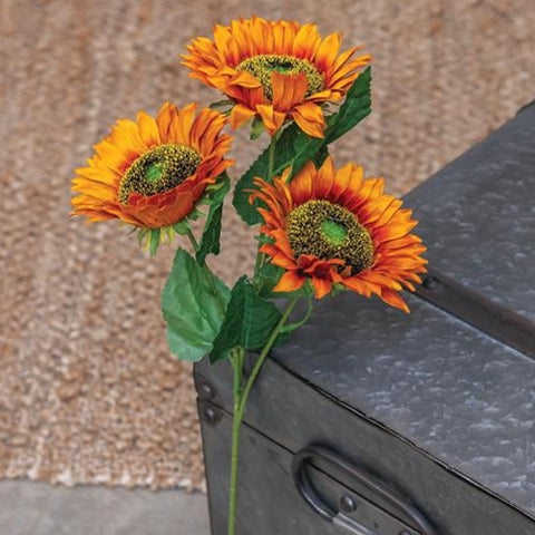 Burnt Orange Faux Sunflower Spray