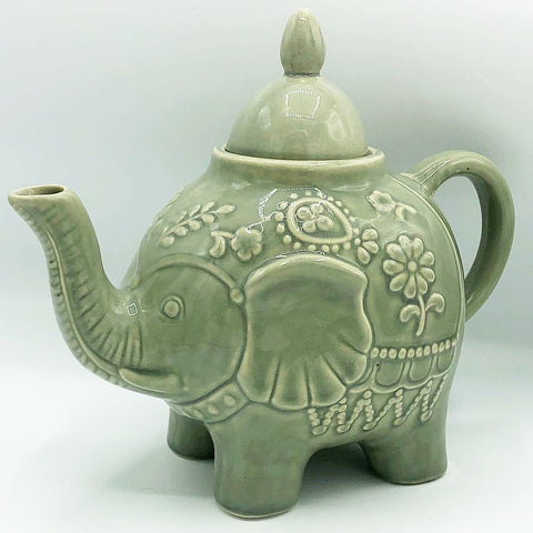 Elephant Teapot Pale Green Floral Embossed Design