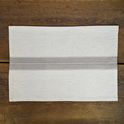 Fabric Placemat - Cream with Grey Stripe
