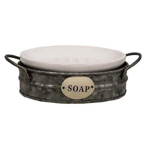 Galvanized Wash Bin Shaped Soap Dish