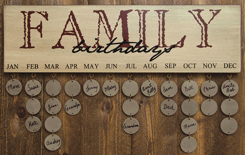 Family Birthday Wooden Wall Hanging Calendar
