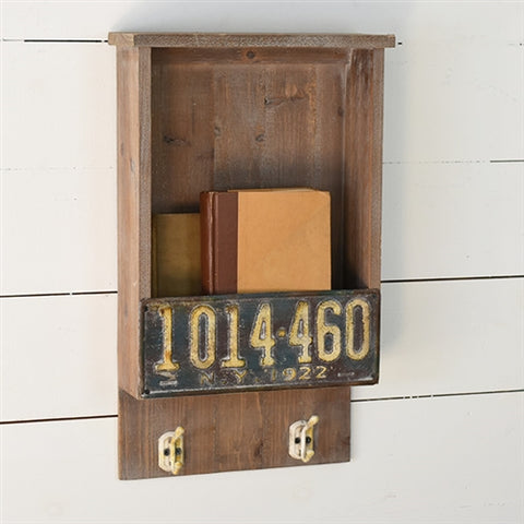 Rustic License Plate Wall Box with Hooks