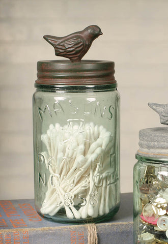 Midget Pint Mason Jar with Bird Lid - Green/Rust Finish
