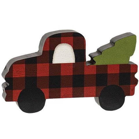 Red Buffalo Plaid Chunky Pickup Truck with Tree
