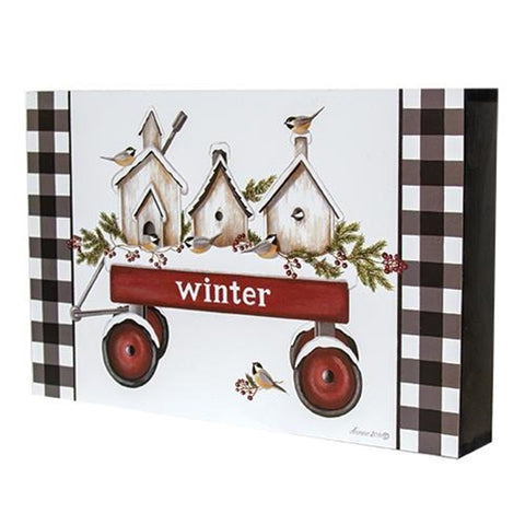 Winter Birdhouses in Wagon Box Sign