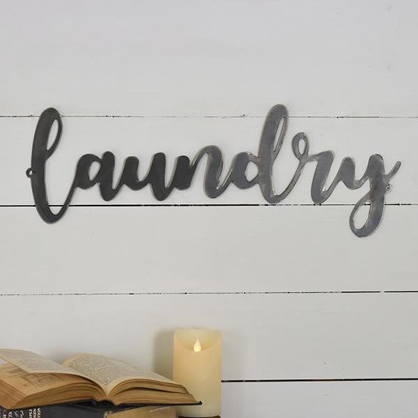 "Laundry Script Black Tin 24"" L Sign"