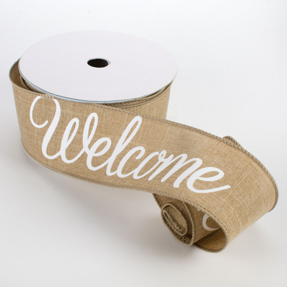 "Welcome Script Natural Tan Ribbon 2.5"" x 10 yards"