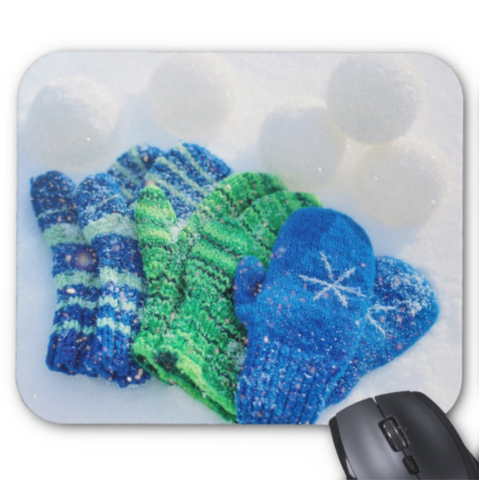 Winter Mousepad - Green and Blue Mittens - Mouse Pad