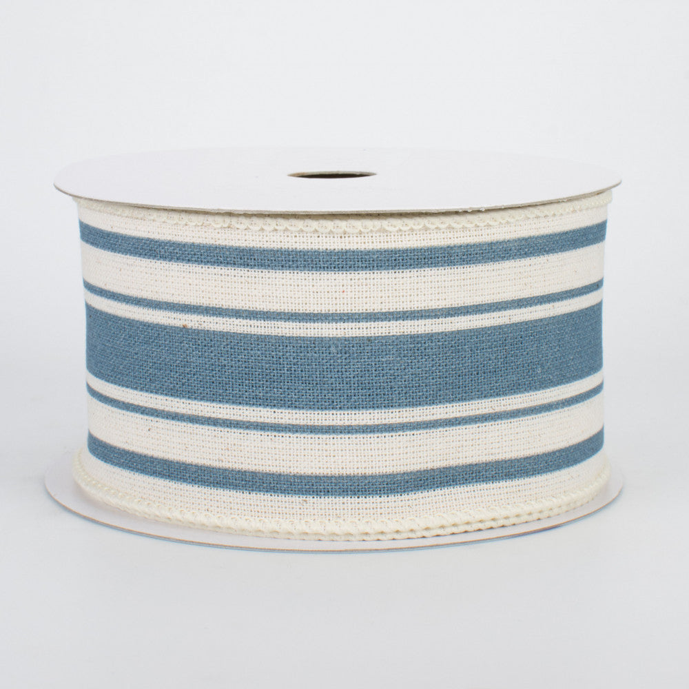 "Farmhouse Cornflower Blue and Cream Stripe Ribbon 2.5"" x 10 yards"