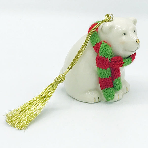 Lenox Polar Bear with Red and Green Scarf Ornament