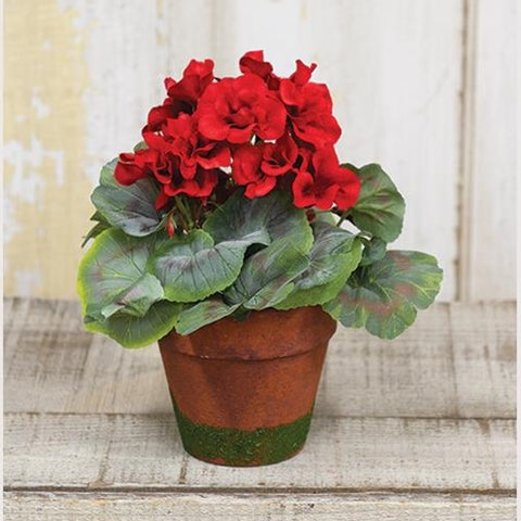 Red Geranium Faux Plant in Mossy Terra Cotta Pot