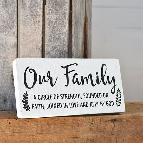 "Our Family Circle of Strength Faith 16"" Wooden Sign"