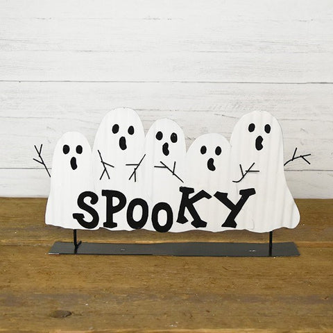 Spooky Ghosts Stand-Up Corrugated Metal Halloween Sign