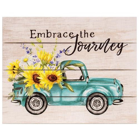 Embrace the Journey Vintage Truck Pallet Art Sign