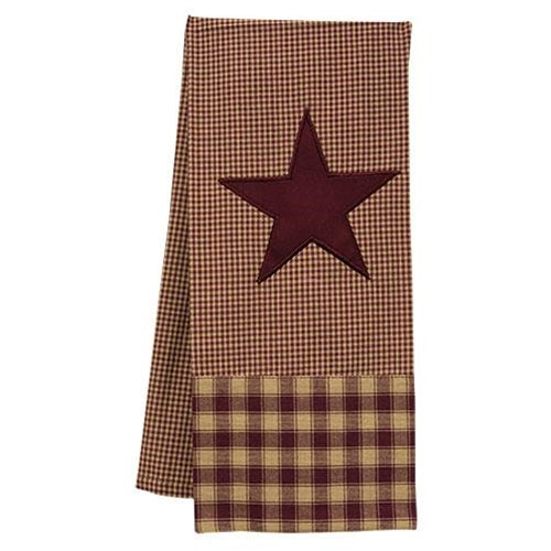 Primitive County Burgundy Star Dish Towel