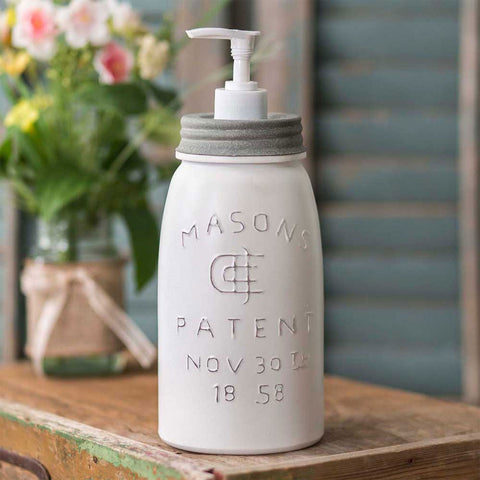 Quart White Mason Jar Soap Dispenser with Barn Roof Lid