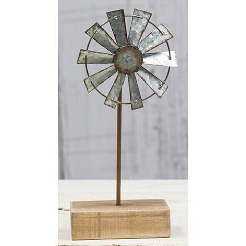 "Windmill 9"" Finial on Wooden Stand"