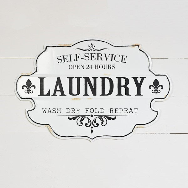 "Self-Service Laundry Nostalgic 23"" Tin Sign"