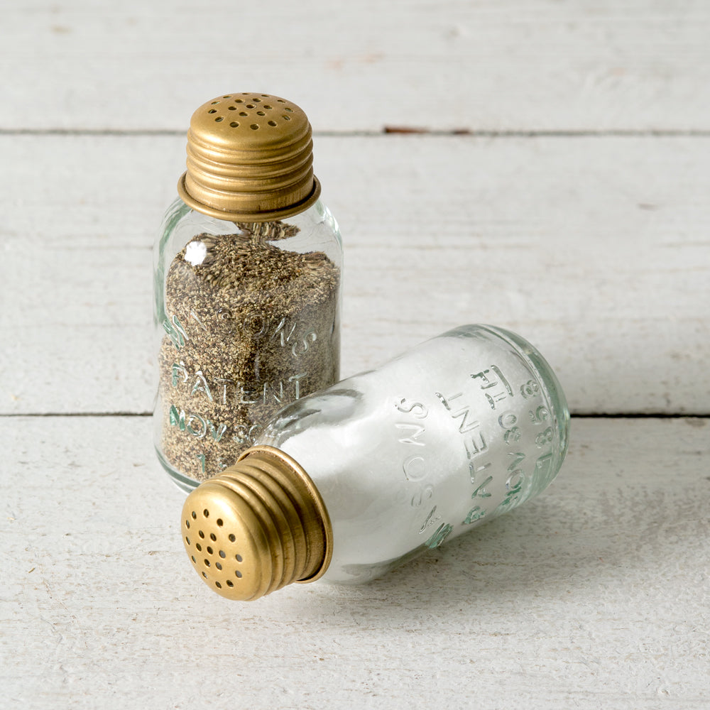 Mini Mason Jar Salt and Pepper Shakers with Brass Lid