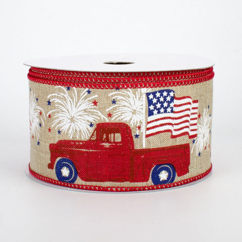 "Patriotic Red Truck Ribbon with American Flag 2.5"" W x 10 yards"