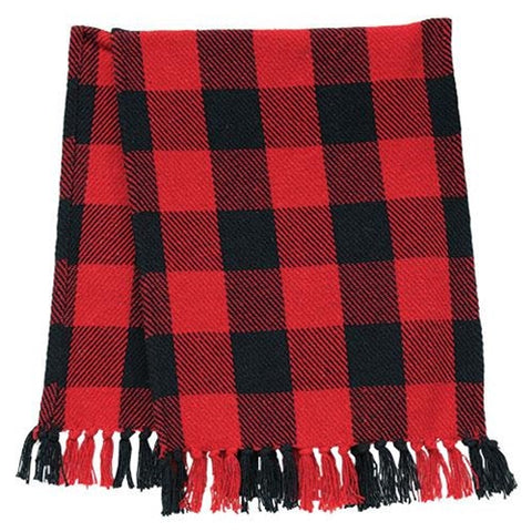 "Red & Black Buffalo Check 52"" Table Runner"