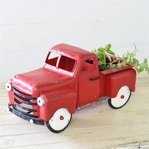 Old Red Truck Metal Planter