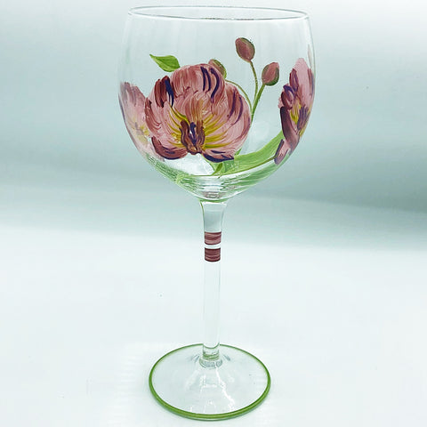 Hand Painted Lavender Flowers Wine Glass