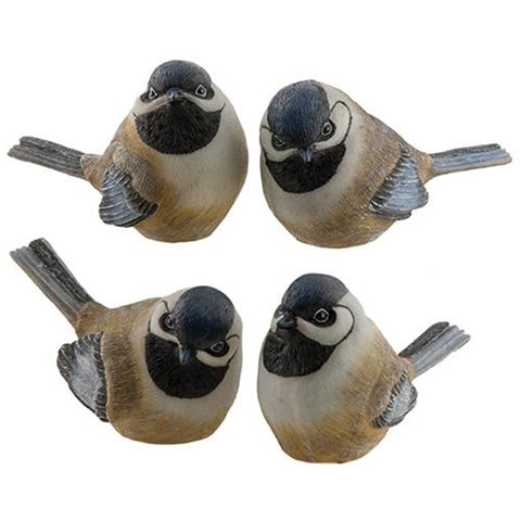 "Set of 4 Chickadee Bird Figures four different poses 4"" H"
