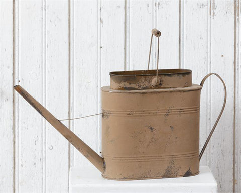 Rustic Oblong Distressed Watering Can with Handle