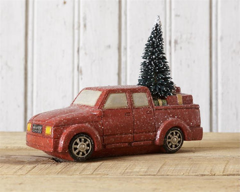 Snowy Red Truck Hauling Tree And Presents Figure