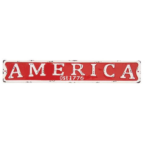 "America Red & White 22"" Metal Street Sign"