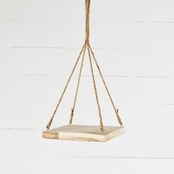 "Rustic Modern Hanging 10"" Wooden Shelf"