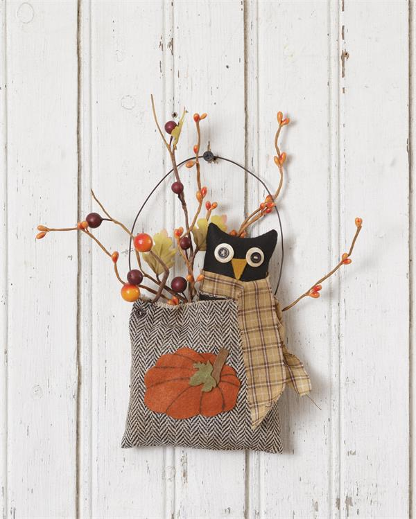 Fall Owl Hanging Bag with Pip Berries