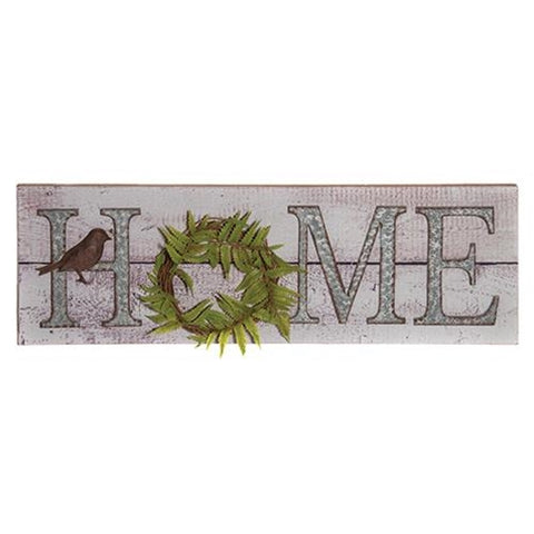 "HOME Botanical Fern Wreath 24"" Sign"