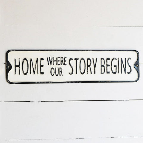 "Home Where Our Story Begins 20"" Street Sign"