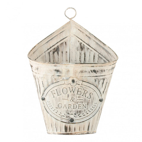 Distressed Tin Flowers & Garden Wall Pocket Planter